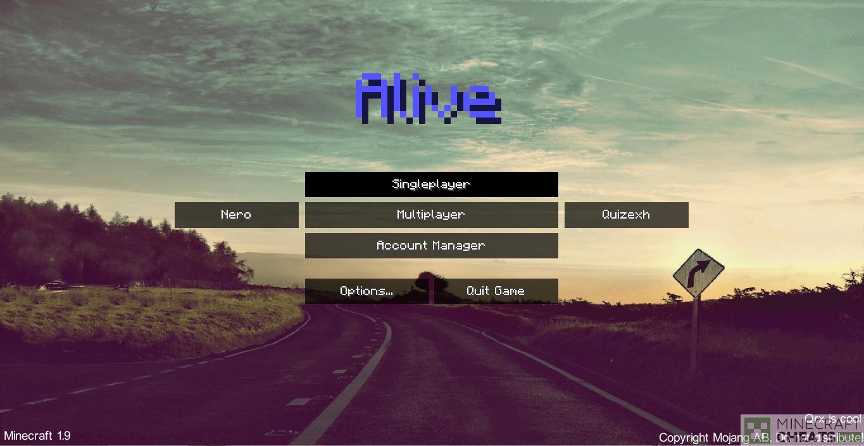 Главное меню чита Alive