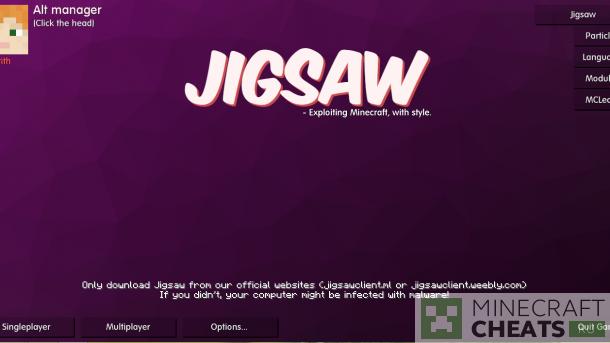 Главное меню в чите JigSaw