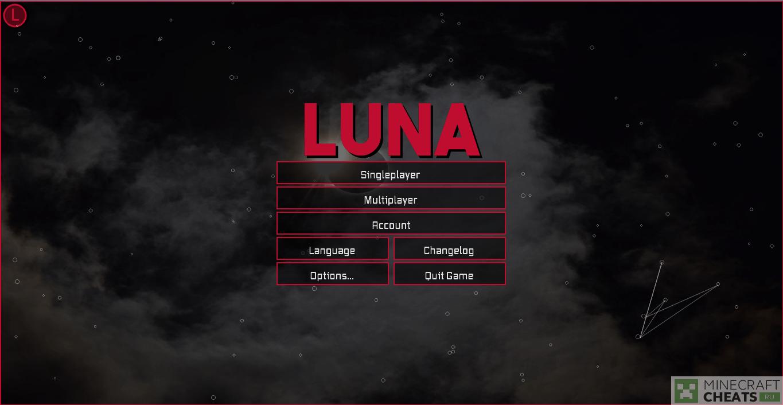 Главное меню чита Luna