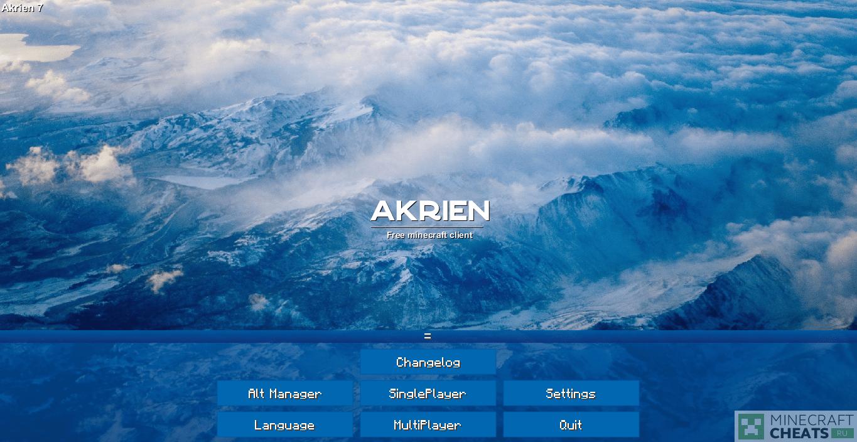 Главное меню чита Akrien