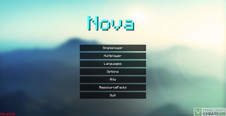 Главное меню чита Nova