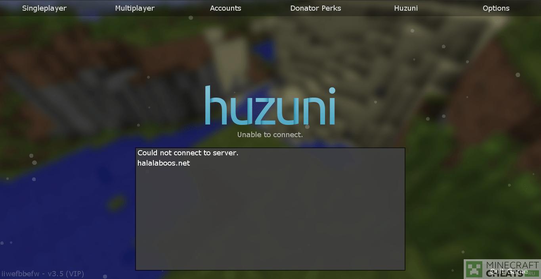 Главное меню чита Huzuni