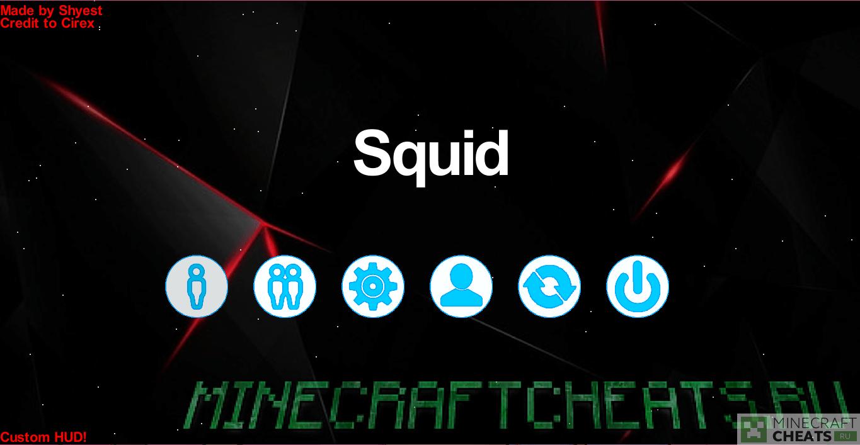 Главное меню в чите Squid
