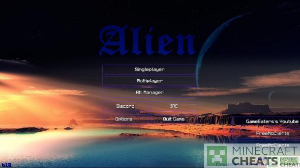 Главное меню чита Alien