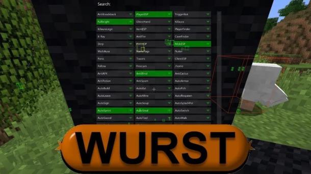 Чит Wurst на Майнкрафт 1.8 — 1.17.1